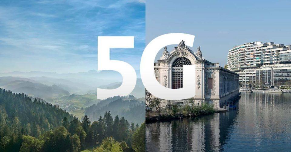 In zwei geteiltes Bild, das Land und Stadt gegenüberstellt mit grossen Lettern 5G, das beide Hälften verbindet