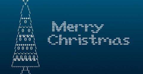 Ein Tannenbaum und Merry Christmas Schriftzug in ASCII-Code