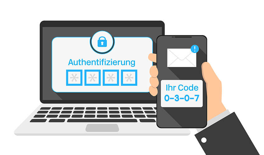 Ein Notebook fragt nach der Authentifizierung, welche via mTAN per SMS auf dem Smartphone erscheint