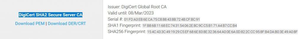 Certificato DigiCert Secure Server CA