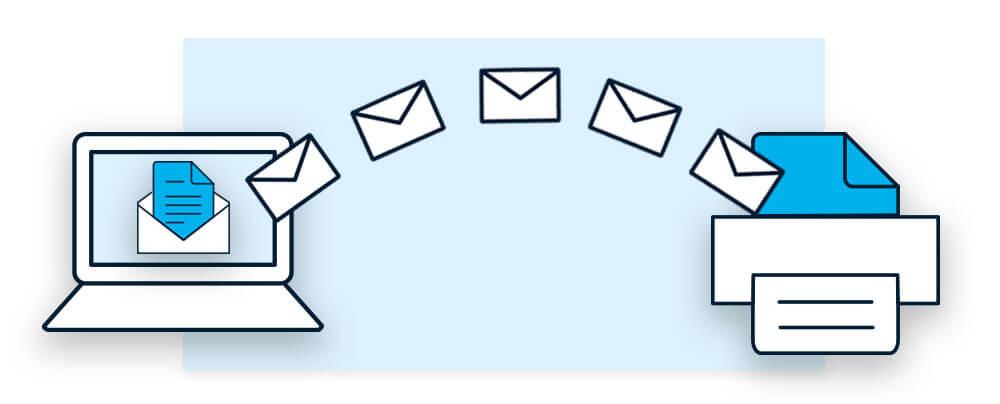 Ein Dokument wird per E-Mail an das Fax-Gerät gesendet