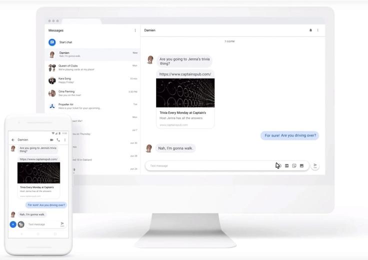 Ein Smartphone und ein Desktopbildschirm zeigen einen Chatverlauf von Google Messages.