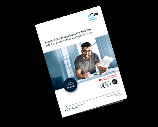 Aperçu de la brochure de produits d'eCall: Solutions de messagerie pour l'entreprises (SMS, Fax, e-mail, notification poussée ou vocale)