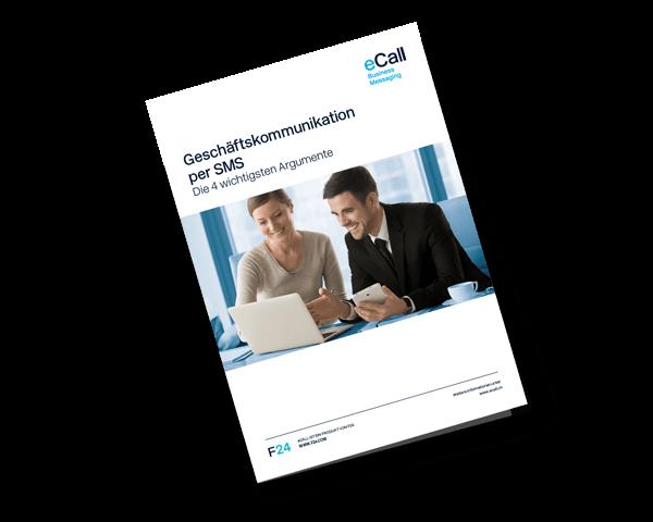 eCall Vorschau Flyer: Geschäftskommunikation per SMS (Die 4 wichtigsten Argumente)