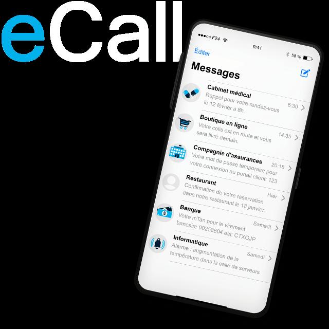 eCall - Le service de communication suisse pour les entreprises. Envoyez des SMS, des fax et des messages vocaux de manière fiable, rapide et simple.