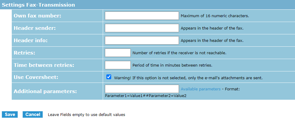 eCall interfaccia e-mail – ci sono numerose impostazioni per l'invio di fax con eCall