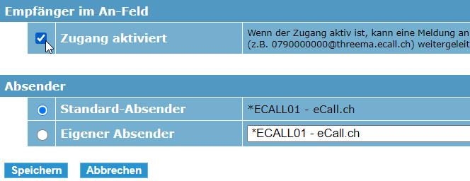eCall E-Mail Schnittstelle – die E-Mail-Schnittstelle kann durch das Anklicken der Checkbox aktiviert werden