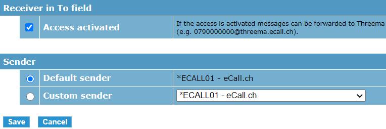 eCall interfaccia e-mail – l'interfaccia e-mail può essere attivata cliccando sulla casella di controllo