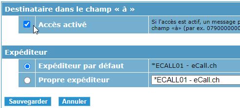 eCall interface courrier électronique – l'interface de courrier électronique peut être activée en cliquant sur la case à cocher