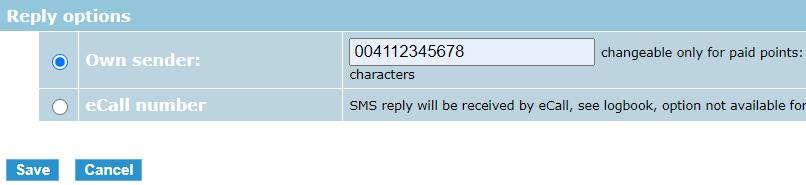 eCall interfaccia e-mail – un mittente separato o un mittente di eCall può essere utilizzato come opzione di risposta