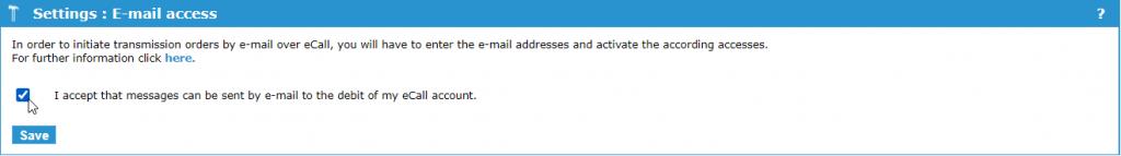 eCall interfaccia e-mail – inviare e-mail tramite il portale eCall