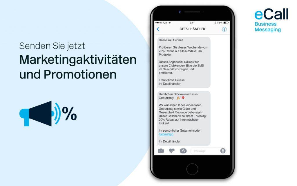 eCall und bexio: Promotionen per SMS