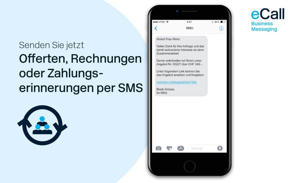 eCall und bexio: Offerten, Rechnungen und Zahlungserinnerungen per SMS
