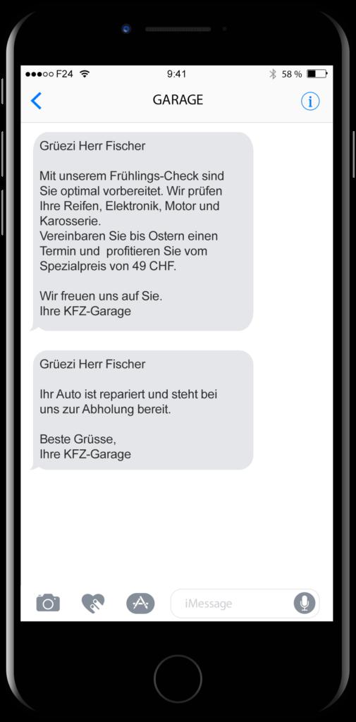KFZ-Garagen und Motorrad Werkstätten informieren ihre Kunden per SMS