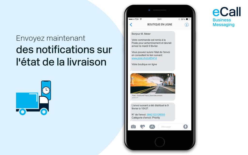 eCall et bexio : des notifications sur l'état de la livraison par SMS