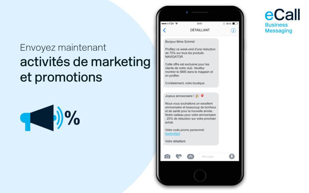 eCall et bexio : des activités de marketing et des promotions par SMS
