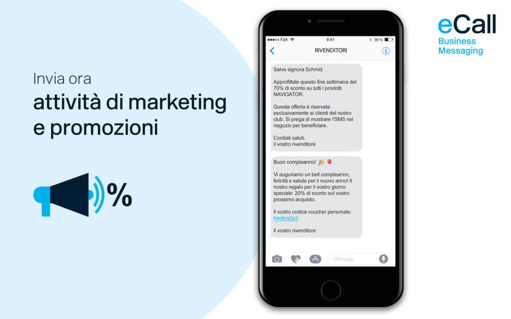 eCall e bexio: attività di marketing e promozioni via SMS