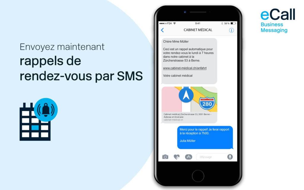 eCall et bexio : des rappels de rendez-vous par SMS