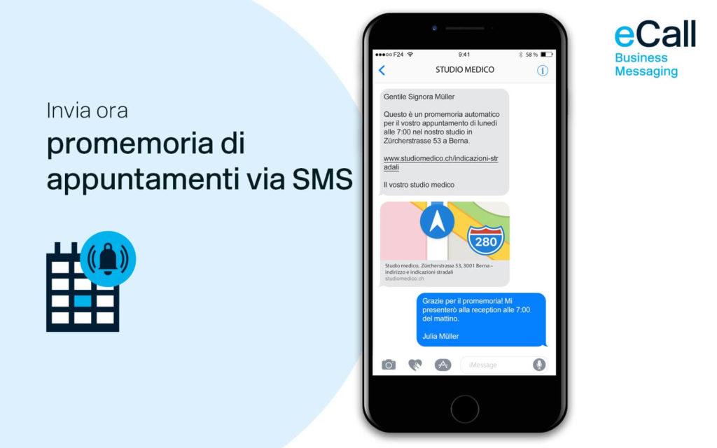 eCall e bexio: promemoria di appuntamenti via SMS